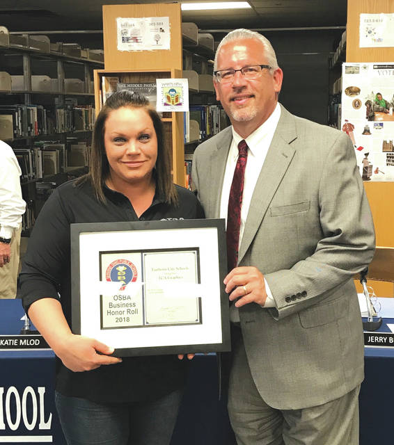 Submitted photos The Fairborn City School District Board of Education recognized Ali Industries, TCA Graphics, The Fairborn Chamber of Commerce, The Education Connection, Fairborn Kroger and the Fairborn Daily Herald at the May board of education meeting as businesses that support the district.
