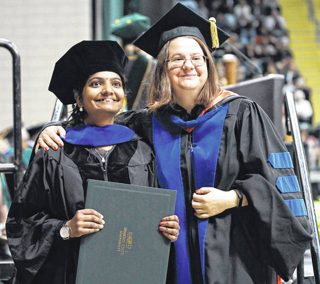 Barb Slone | Greene County News Wright State University President Cheryl Schrader presided over the April 28 Commencement which featured more than 2,000 students.