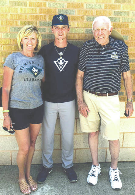 Austin Warren, the son of 1982 Xenia High School graduate Alana Walke (left), recently was drafted in the sixth round of the Major League Baseball draft by the Los Angeles Angels on June 6. Warren, a right-handed relief pitcher for the University of North Carolina Wilmington is the grandson of former Xenia YRC baseball coach John Walke (right) of Xenia.