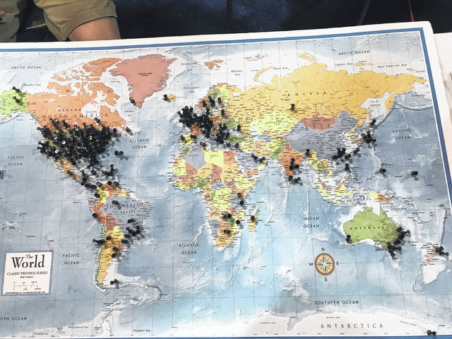 Submitted photo Hamvention 2018 attendees pinned this map to show the places from which they travelled to make it to the event at the Greene County Fairgrounds.