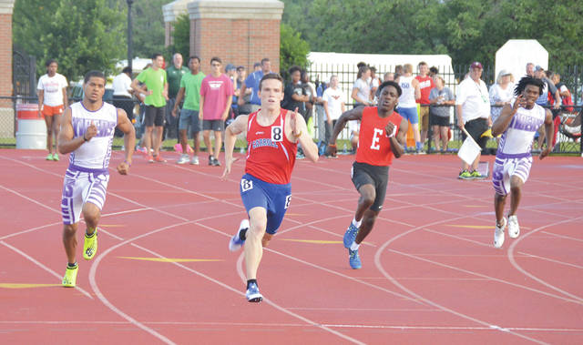 Carroll senior Sam Janson (8) used a pretty good game plan to win the Division I state title in the boys 400-meter run: 1) Get out front; 2) Stay there. Janson did both to claim the gold medal.