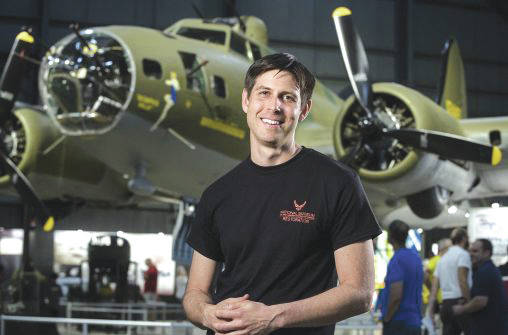 Submitted photo Casey Simmons, who graduated from Wright State with a degree in anthropology, helped restore the Memphis Belle, the World War II bomber, at the National Museum of the United States Air Force.