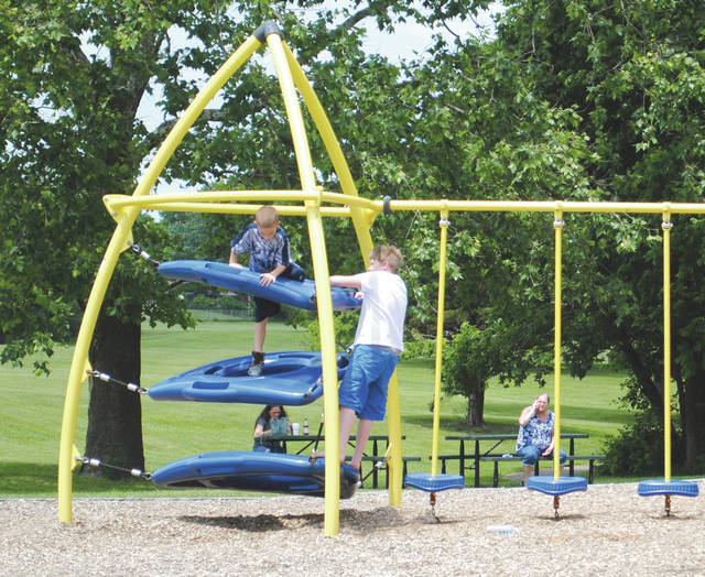 Whitney Vickers | Greene County News Fairborn citizens are taking advantage of the warm weather by utilizing the city's parks. Community Park, 691 E. Dayton-Yellow Springs Road, offers a playground, walking trail and more.