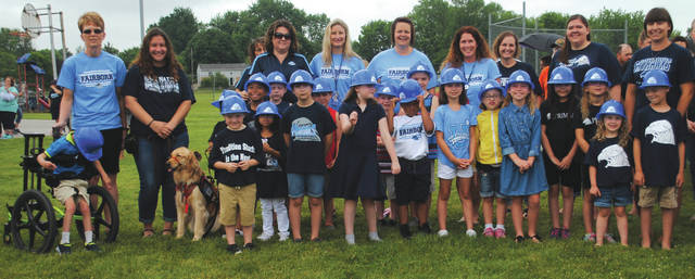 Fairborn Primary School students and officials June 1 at the groundbreaking ceremony.