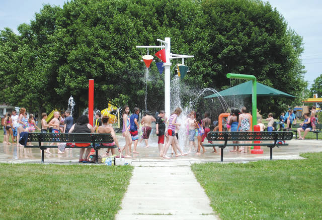 Whitney Vickers | Greene County News The local Sprayground has opened for the season. It is open from 10 a.m. to 8 p.m. now through Labor Day weekend and is located at Fairborn's Central Park, 300 S. Central Ave.