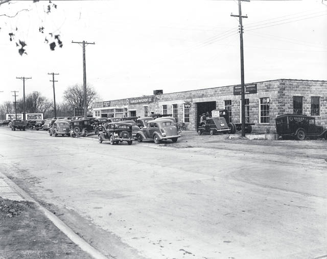 Courtesy of Greene County Historical Society Daniels Implement Co. with agricultural sales stays busy on North Detroit Street, about 1938.