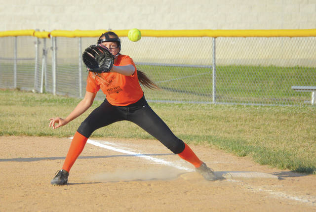 The Beavercreek first baseman keeps her eye on the ball as she takes a throw from the pitcher for a forceout, during Wednesday's July 11 Dayton South Softball League game at Coy Middle School in Beavercreek. Beavercreek won the game to finish the regular season undefeated.