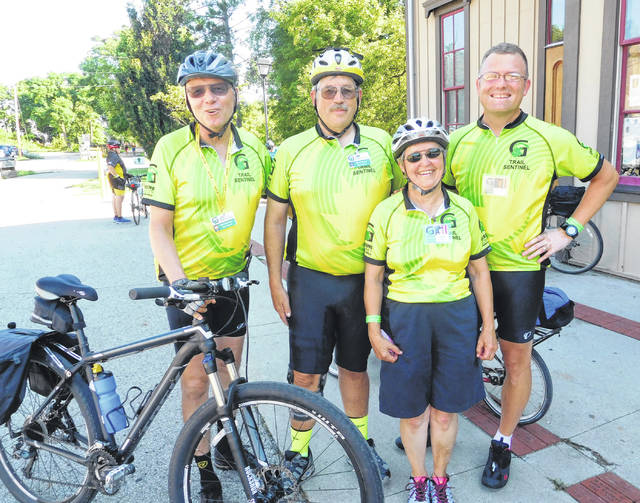 Support is provided each day by the all-volunteer GCP&T Trail Sentinels, who patrol the trails to provide mechanical support, basic first-aid or request a cyclist to be picked up the GCP&T SAG Team for a ride back to the Xenia headquarters.