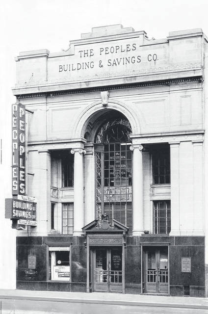 Courtesy of Greene County Historical Society The Peoples Building & Savings Co., before 1957 facade remodeling, sits on Greene Street.