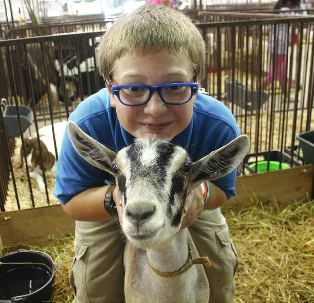 Anna Bolton | Greene County News Garrett Hook and Jake navigated a pack goat obstacle course together Aug. 2 at the Greene County Fair.