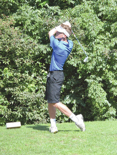 Xenia senior Jate Bradley follows his tee shot on Hole No. 11 at the WGC Golf Course in Xenia. Bradley and his Xenia Buccaneers teammates were taking on the Stebbins Indians for a boys high school varsity golf team match, Aug. 28.