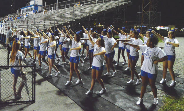 Despite a lengthy delay and eventual cancellation of the Aug. 3 Friday Night Lights football presentation at Doug Adams Stadium, Xenia High School's cheerleaders still showed plenty of spirit.