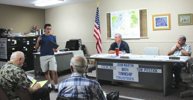 Linda Collins | Greene County News Eagle Scout Candidate Alex Hooper proposing his Eagle Scout project to Bath Township Trustees.