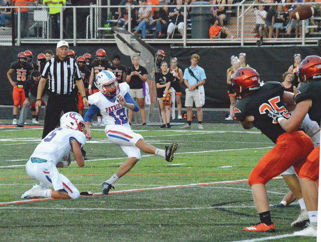 This Kade Greer field goal was the only one made in Friday's Beavercreek-Carroll high school football game. Consequently, Carroll rallied to a one-point win, Aug. 31 on Frank Zink Field in Beavercreek.
