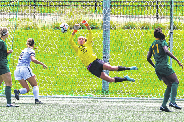 Wright State University goalie Maddie Jewell blocks a goal.
