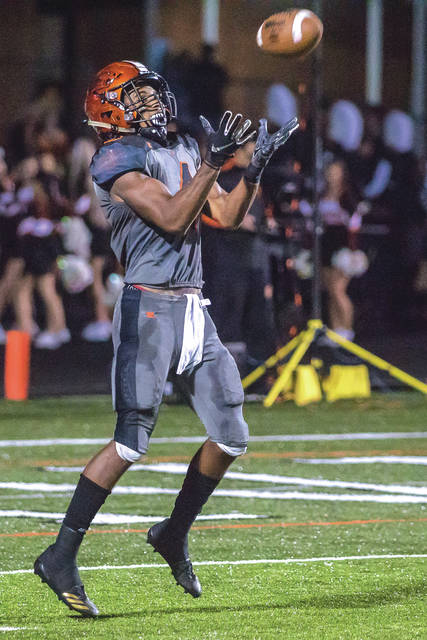 Beavercreek's Chris Lawrence hauls in a first-half kickoff in Friday's Sept. 28 34-7 home loss to Springboro. Lawrence rushed for 116 yards and the Beavers' lone touchdown on 16 carries.