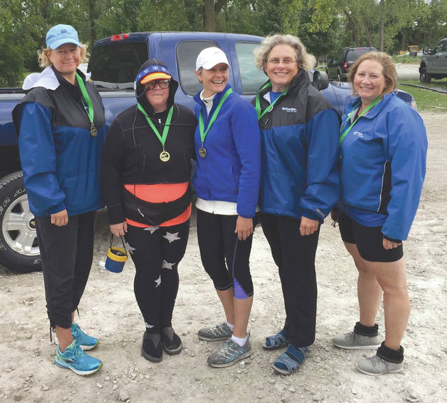 Dayton Boat Club's women's four, from left: Amy O'Connor, Judi DeSimio (coxswain), Maureen Schlangen, Susan Federinko, Jane Wittmann. The quartet earned first-place gold at the Frogtown Regatta, Sept. 22 in Toledo.
