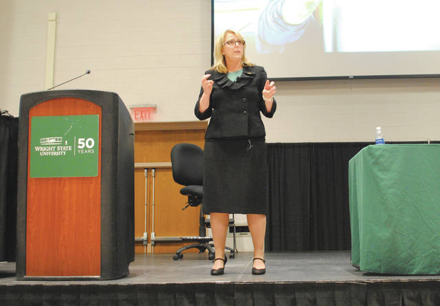 File photo Dr. Susan Edwards making a presentation to the Wright State community as the university underwent its provost search.