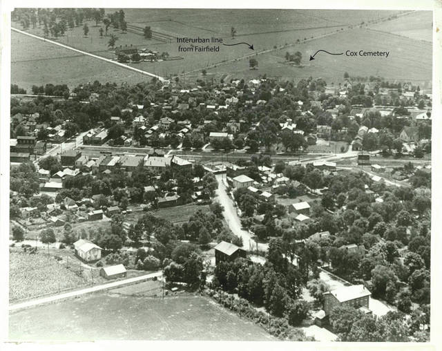 Submitted photo The historic town of Osborne in the 1910's. Osborne was locate on what is now Wright-Patterson Air Force Base's flight line. A group of trees in the upper right corner marks Cox Family Cemetery, which today sits inside a white picket fence on the flight line.