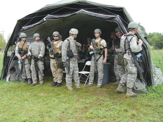 Submitted photo Participants take a break from field training activities during Operation Tech Warrior 2018. Air Force instructors lead these exercises, which replicate military missions and tactics for the battlefield.