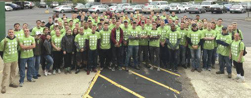 Submitted photo About 100 Air Force ROTC cadets from Wright State University partnered with Rebuilding Together Dayton to clean up a Dayton neighborhood.