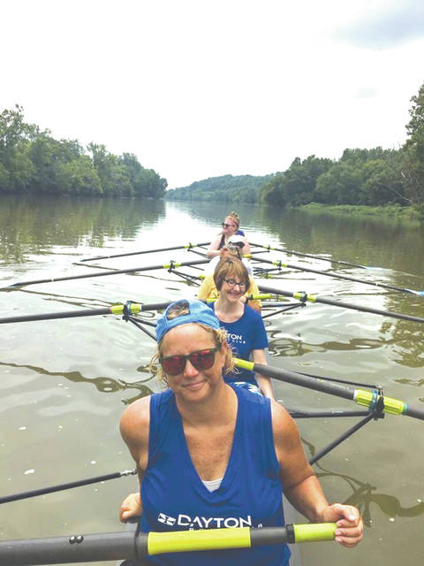 Dayton Boat Club masters rower Amy O'Connor, front, leads the novice team — graduates of the spring 2018 learn-to-row class — in a practice on the Great Miami River. The novice team won a gold medal in August at the Midwest Summer Sprints in Nashport.