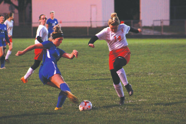 Greeneview senior Hannah Ferrell makes a cross pass early in the first half in a Division III sectional first round tournament game Oct. 16 against Southeastern.