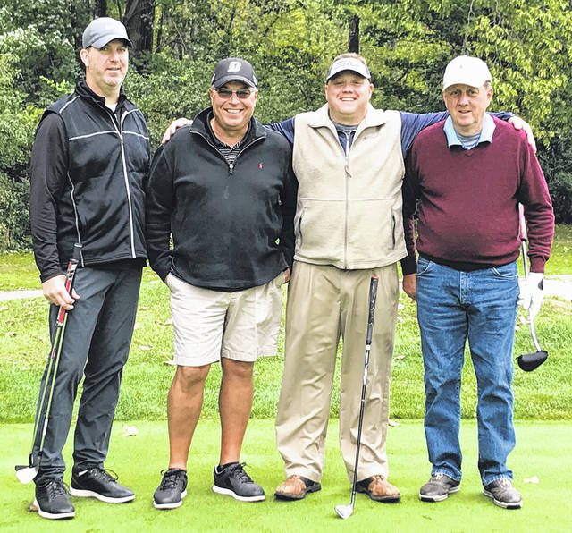 Submitted photo Xenia Elks Lodge 668 held its first golf scramble fundraiser open to the public, Sept. 22 at the WGC Golf Course. Nearly 60 golfers played, helping the lodge raise $4,000 for the Ohio Elks Association's Cerebral Palsy charity. This charity provides financial aid to Cerebral Palsy treatment centers throughout Ohio. In addition, the lodge donated $1,500 to the Dayton Children's Hospital Cerebral Palsy program. Scramble winners (left to right) were Kenny Oemisch, Brian Newton, Doug Osten, and Dave Osten.