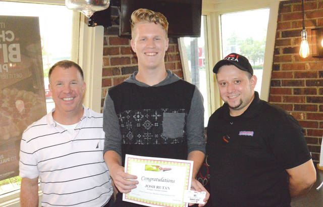 Legacy Christian Academy grad and current Wright State University student Josh Rutan (center) was recognized as the Greene County Batting Champion for the 2018 high school baseball season. With Josh are his father, John Rutan, and Pizza Hut General Manager Brandon Beatty (right) who awarded the Legacy Christian grad with $50 in Pizza Hut gift cards, Oct. 4 in Xenia.