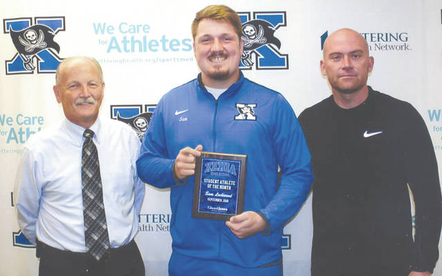 Sam Lockwood was chosen as the Edward Jones Investments Athlete of the Month for September for Xenia High School. This award is being sponsored by the office of Mike Reed at Edward Jones Investments of Xenia, serving Xenia, Jamestown, Cedarville and surrounding areas. Lockwood, a senior offensive and defensive lineman on the football team, represents his team and school with positivity every day and is a hardworking student who always has a smile on his face. He carries a 4.0 grade-point average and is member of student council and the Buccaneer Buddies program.