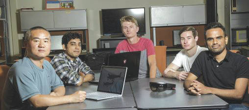 Submitted photos From left: Yong Pei, associate professor of computer science and engineering, and student researchers Miteshkumar Vasoya, Chris Rave, Logan Frank and Ashutosh Shivakumar.