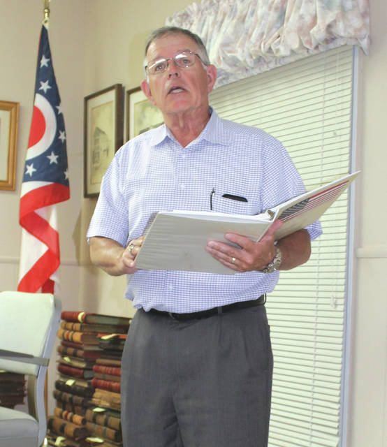 Linda Collins | Greene County News Greene County Career Center Board of Education President Michael Uecker made a stop at the Bath Township trustee regular meeting.