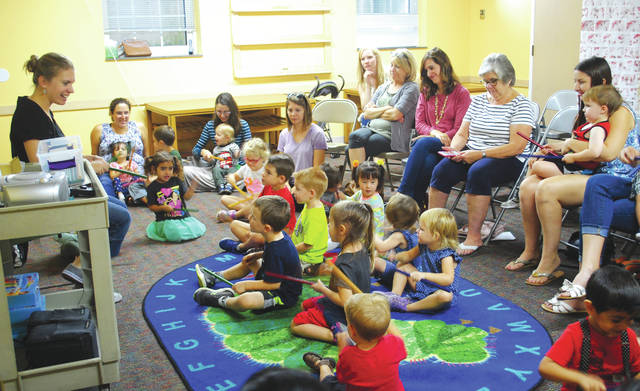 Whitney Vickers | Greene County News The Fairborn Community Library hosted a musical gathering for local tots Oct. 3, inviting children to learn music fundamentals and create their own sounds.
