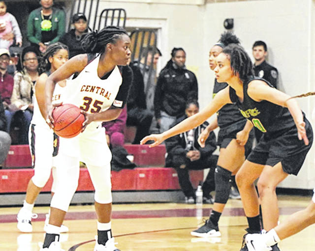 Photo courtesy of CSU Chervelle Cox (35) led Central State with 14 points and 10 rebounds in a Nov. 20 road loss to nationally ranked California-Pennsylvania.