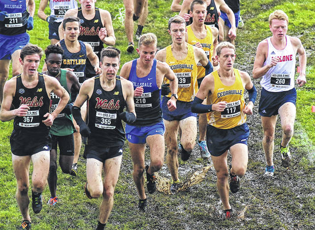 Photo courtesy of CU Trenton Classen, Ethan Sullivan, and Russell Schultz run among the G-MAC leaders.