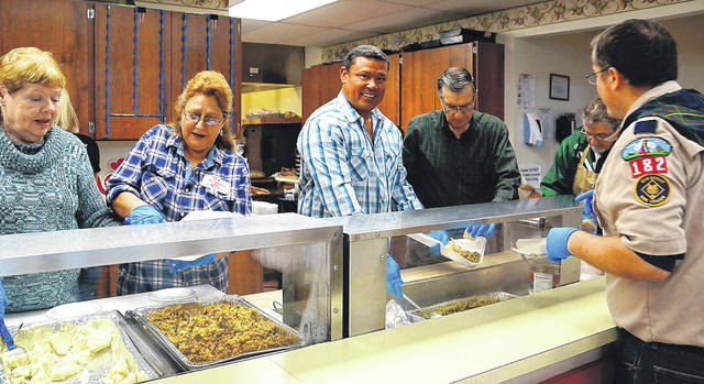 Barb Slone | Greene County News The Fairborn Senior Center, as well as a number of local churches, organizations and individuals, joined together to offer the community a free Thanksgiving dinner Nov. 22 at the senior center.