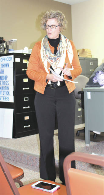 Linda Collins | Greene County News Dana Storts, manager of the Greene County Environmental Services, gave a presentation about the recycling programs and services available to county residents and businesses during the Nov. 7 Bath Township regular meeting.