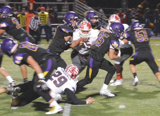 Bellbrook running back Justin Sloan (35) was named to the Division III All-Ohio Third Team offense. Teammate and offensive lineman Ethan Knisley (not pictured) was named to the All-Ohio First Team.