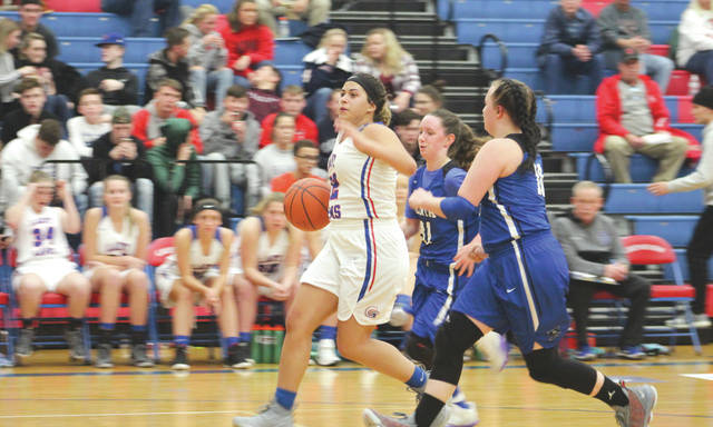 Greeneview senior Kenzie Harding splits the Buccaneers defense for an easy layup off a Xenia turnover in the Rams' first game of the season, Nov. 26 in Jamestown.