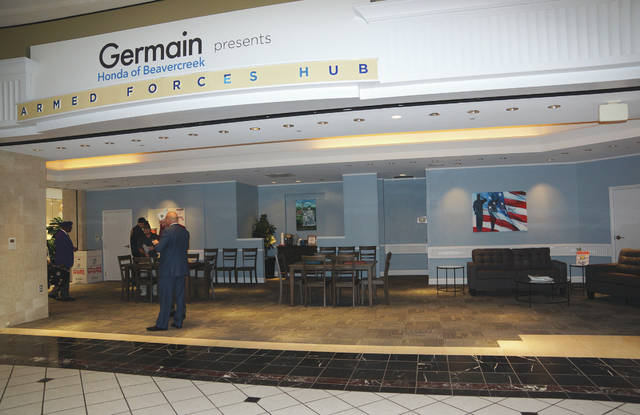 Barb Slone | Greene County News The Germain Honda Armed Forces Hub recently opened in the Fairfield Commons Mall. Several state and community officials were in attendance of the ribbon cutting ceremony.