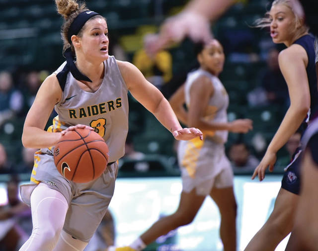 Photo courtesy of Wright State University. Emily Vogelpohl paced the Raiders in scoring, but the green and gold fell to Belmont, Nov. 15, at Wright State University's Nutter Center.