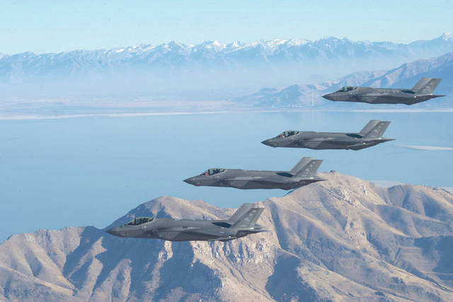 Submitted photo A formation of F-35 Lightning IIs from the 388th Fighter Wing and 419th FW stationed at Hill Air Force Base, Utah, perform aerial maneuvers during as part of a combat power exercise over Utah Test and Training Range.