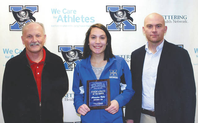 Alexandra Fellie was chosen as the Edward Jones Investments Athlete of the Month for November for Xenia High School. This award is being sponsored by the office of Mike Reed at Edward Jones Investments of Xenia, serving Xenia, Jamestown, Cedarville and surrounding areas. Fellie is a senior and was a first-year runner for the Cross Country team. She ran extremely well, improving her times each race. Fellie is a great leader and hard worker. Her efforts not only show on the Cross Country course, but in the classroom as well. She is in all honors classes and currently has a 4.8 grade-point average.