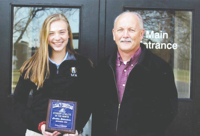 Caitlin Erlandson was chosen as the Edward Jones Investments Athlete of the Month for November for Legacy Christian Academy School. This award is being sponsored by the office of Mike Reed at Edward Jones Investments of Xenia, serving Xenia, Jamestown, Cedarville and surrounding areas. Caitlin was a senior captain on the girls varsity soccer team and was the Metro Buckeye Conference's Co-Athlete of the Year. She is also on the swim team and plans to run track in the spring. She has well over a 4.0 grade-point average.