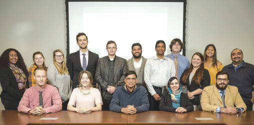 Photo courtesy of WSU Back row, from left: Lazette Carter, Lindzy Senderak, Anne Lutz, Brandon Lease, Zachary Brooks, Tushar Goswami, Dinesh Gundapaneni, Stephen Whatley, Annie Finfrock, Andrea Gomes and Anmar Salih; front row, from left: Michael Haas, Taylor Pooler, Tarun Goswami, Farah Hamandi and Muhammad Abdulaziz.