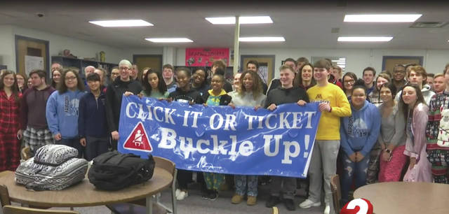 Photo courtesy of WDTN Fairborn High School has once again won the Greene County Safe Communities Coalition Seat Belt Challenge. According to Fairborn City School District officials, FHS was the only school out of the nine participating institutions to have 100 percent of its students buckled up. The Greene County Safe Communities Coalition is an entity of Greene County Public Health.