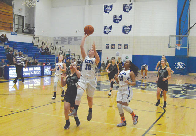 Xenia's Kamea Baker (10) puts up a score in Wednesday's 54-29 loss to visiting Greenville. Baker scored a game-high 20 points.