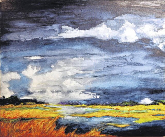 Submitted photos Salt Marsh, Stormy Day is a watercolor on canvas painting and photo by Christine Klinger.