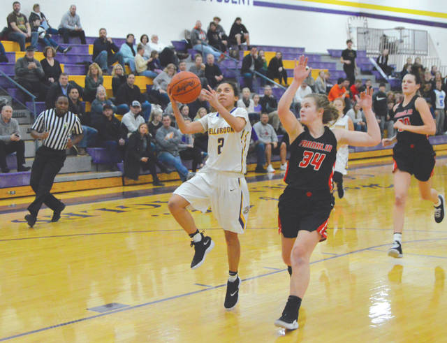Bellbrook's Maria Mescher (2) drives to the basket after stealing the ball, in the first half of Thursday's Jan. 10 girls high school basketball game with visiting league leader Franklin.