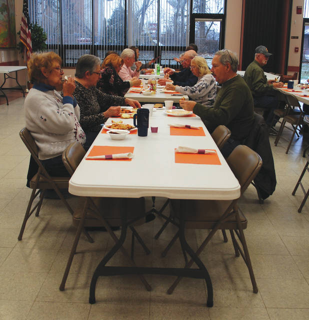 Whitney Vickers | Greene County News The Fairborn Senior Center hosted Lunch with Friends Jan. 10, inviting members to a spaghetti lunch to share alongside fellow members.